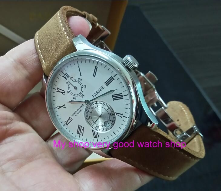 43mm PARNIS White dial Automatic Self-Wind Mechanical movement men's watch Auto Date power reserve Mechanical watches zdgd308a cuena top women s watches genuine leather women quartz watch relojes reloj mujer montre femme relogio feminino ladies clock 6626