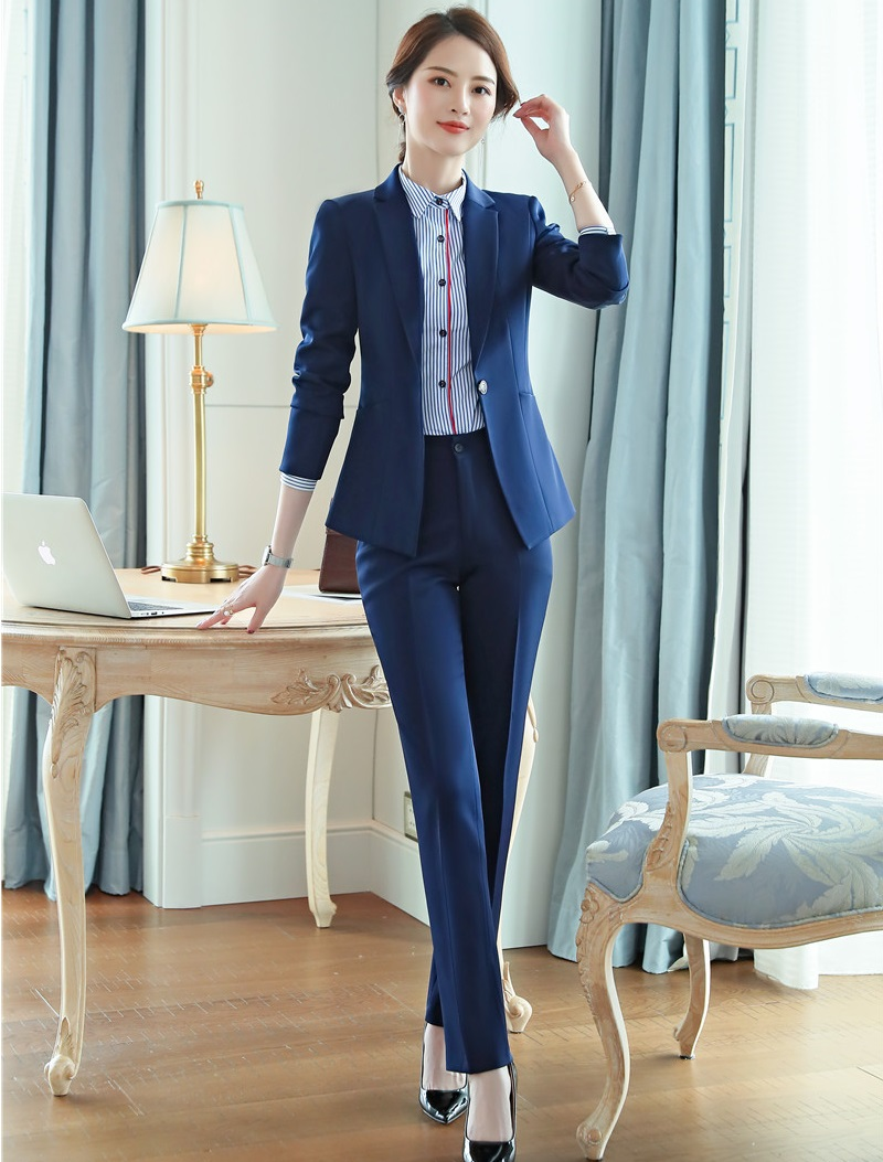 Strong-Willed Formal Ladies Navy Blue Blazer Women Business Suits With Pant And Jacket Set Work Wear Office Uniform Design Styles Reputation First Suits & Sets Pant Suits