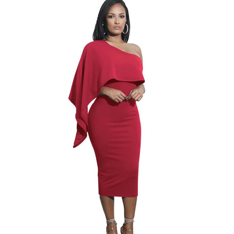 2018 summer Bodycon Midi Ruffles One Shoulder Elegant sexy club evening Party  Women tunic Asymmetrical Dresses 854460a8e057