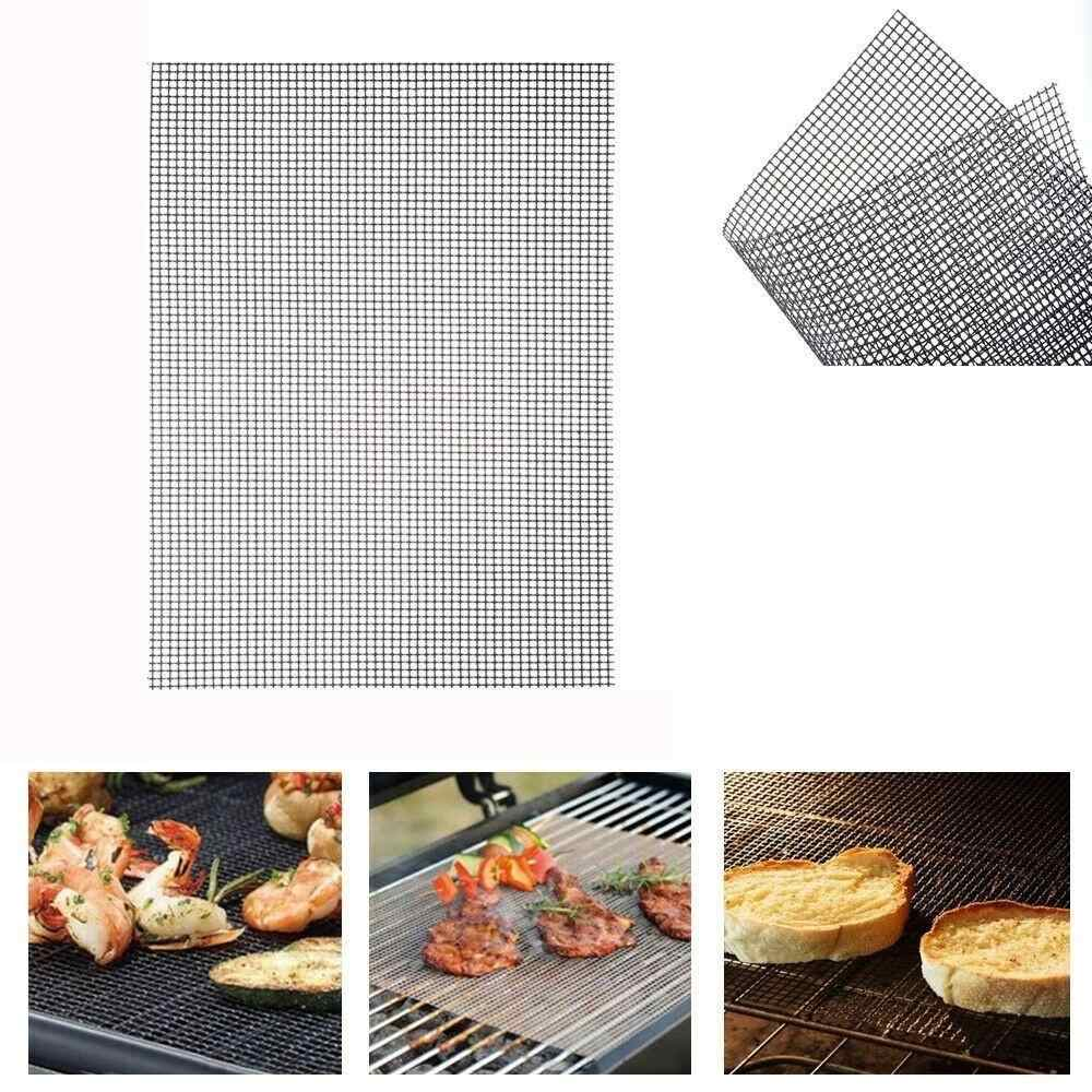 Non-stick Barbecue Grilling Mats High Security Grid Shape BBQ Mat with Heat Resistance 42X36CM For Outdoor Activities