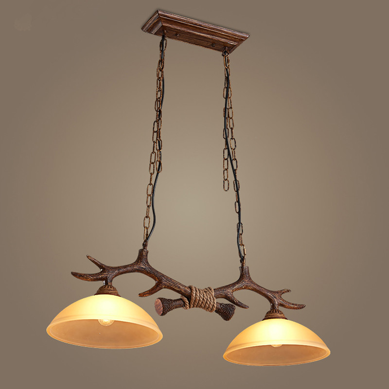 Double head clothing store lights Nordic retro antlers glass chandeliers resin cafe hanging lamps managing the store