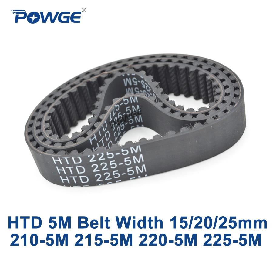 POWGE HTD 5M Timing belt C=210/215/220/225 width 15/20/25mm Teeth 42 43 44 45 HTD5M synchronous Belt 210-5M 215-5M 220-5M 225-5M