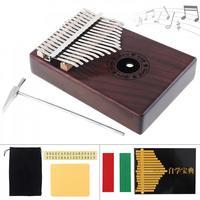 17 Key Kalimba Single Board Mahogany Finger Thumb Piano Mbira Mini Keyboard Musical Instrument with Complete Accessories
