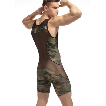 New Men's Singlet Underwear,Men's Camouflage Net Yarn Patchwork Bodysuits,Men's Bodywear 2