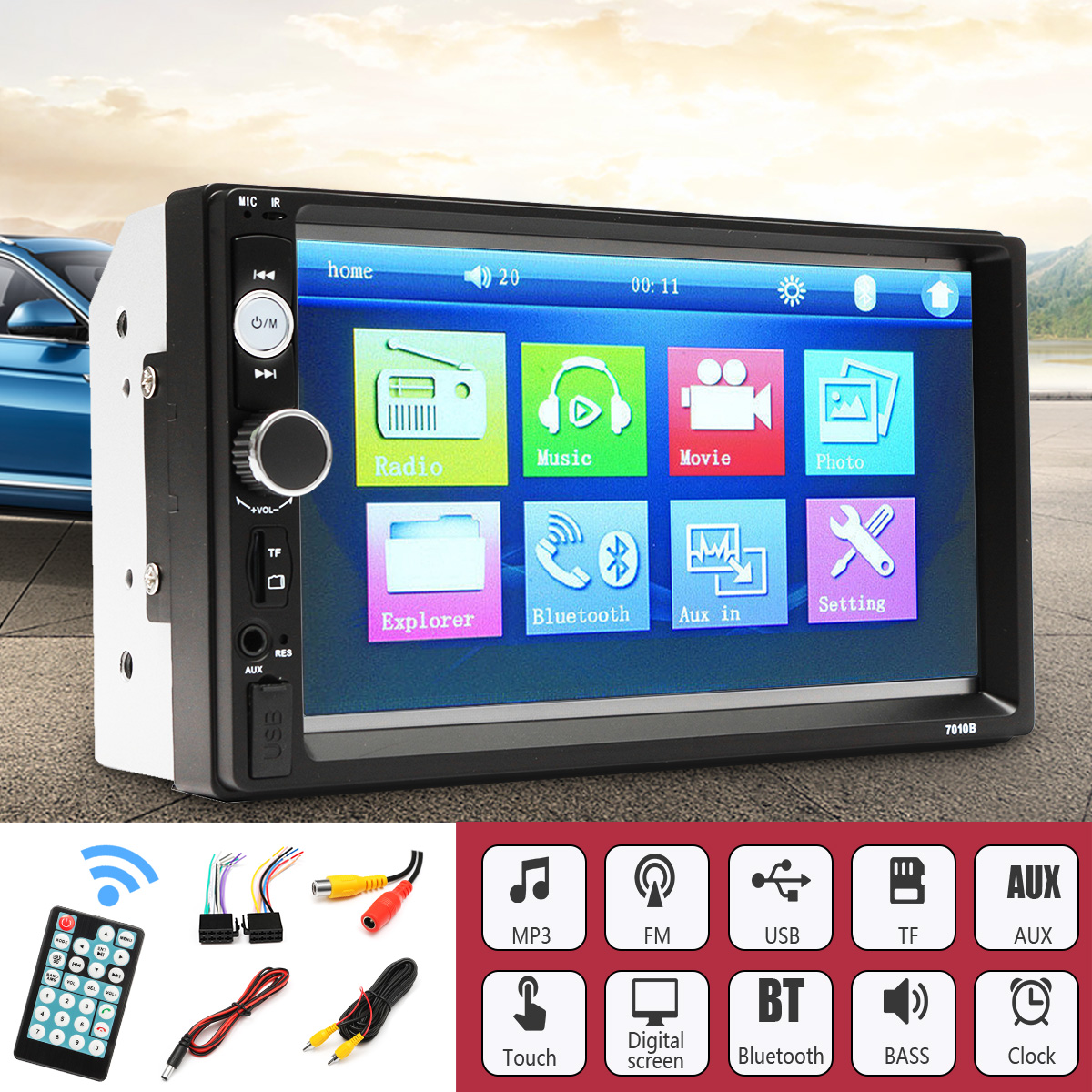 7010B Multimedia Player 2 Din Car Video Player Audio Stereo DVD 7 inch Bluetooth FM Radio Car MP5 Player with 720P Backup Camera professional 6 2 inch 6201a audio dvd sb sd bluetooth 2 din car cd player with automatic memory play car dvd player