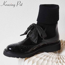 Heel Winter Ankle-Boots Runway Stretch Genuine-Leather Fashion L98 Krazing-Pot Knitting-Block