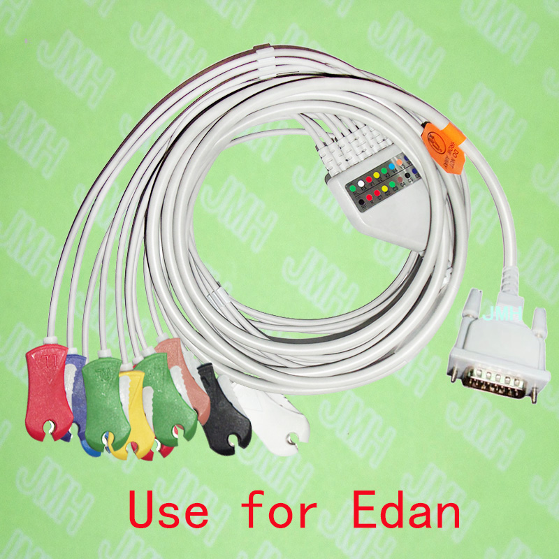Compatible with EDAN SE-1/SE-3/SE-601A EKG Machine the One-piece 10 lead ECG cable and Clip leadwires,IEC or AHA. br 903p nihon kohden 3 lead leadwires ecg cable with ce and iso 13485 certificates