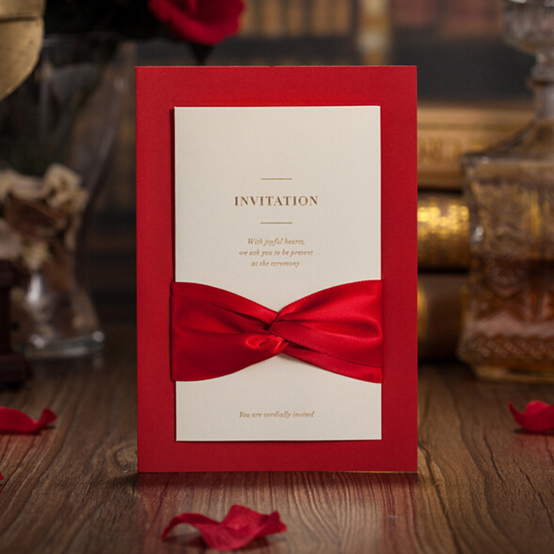 50pcs Red Laser Cut Wedding Invitation Card Greeting Postcard Customize Printing With Ribbon Event Party Supplies In Cards Invitations From