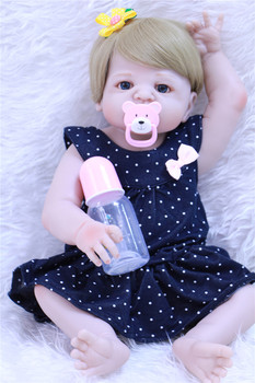 23inch Newborn Dolls Lifelike Reborn Full Body Silicone Vinyl clothes mold baby Christmas Gift For Girls Realistic Children Toy
