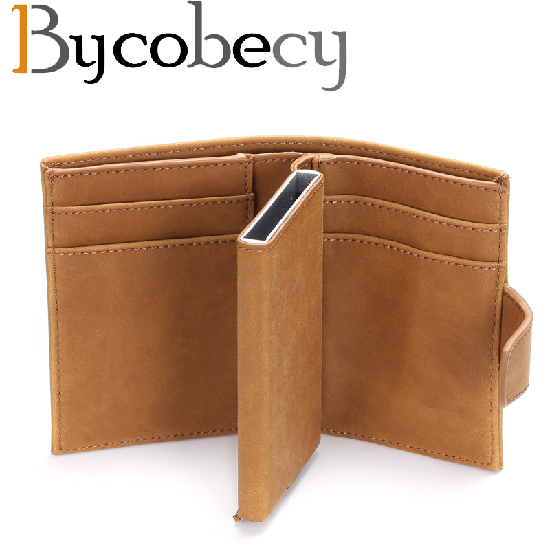Bycobecy New Pu Leather Automatic Card Wallet Credit Box Pickup Holder Anti-RFID Wallet Business Card Holder Credit Card Package