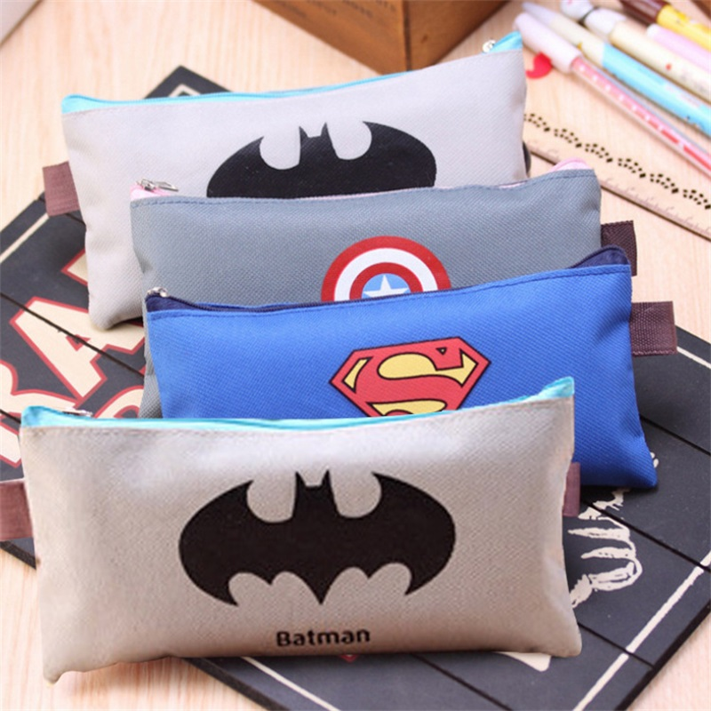 (1Pc/Sell) Superman Comic Hero Pencil Case School Supplies  Stationery Gift Estuches Cute Pencil Box Pencilcase Pencil Bag