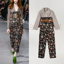 2016 Polyester Full 2017 New Spring Fashion Ladies Long Sleeved Suit Jacket + High Waisted Retro Printing Wide Leg Pants Suits