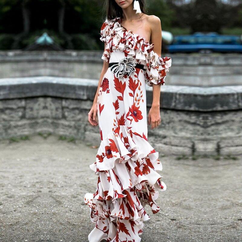 Bohemian Vintage Floral Printed Ruffles Long Dress Women Elegant Off Shoulder Chiffon Maxi Dress Runway Dresses 2018