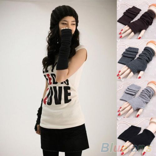 Women Fashion Knitted Arm Fingerless Long Mitten Wrist Warm Winter Gloves  1PXW 42E4