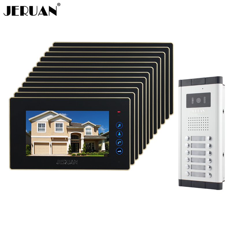 JERUAN Brand New Apartment Intercom 7`` Touch key LCD Video Door Phone intercom System+12 monitors+ 700 TVL Camera for 12 houses new apartment doorbell intercom 7 lcd touch key video door phone intercom system 1camera 10 monitors for 10 house free shipping