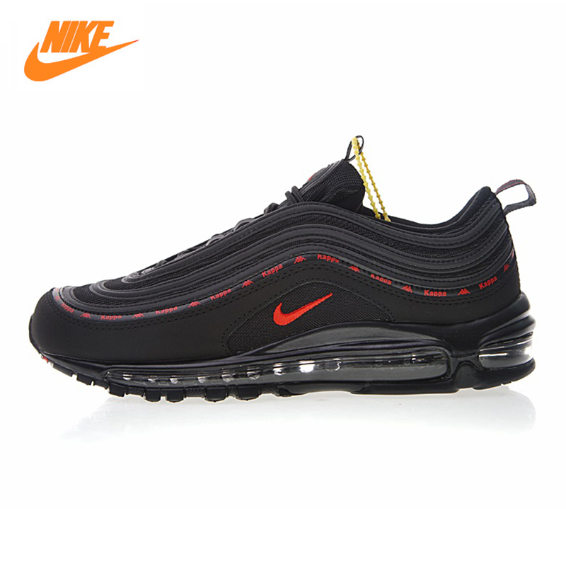 Nike X Kappa Air Max 97 OG Men's Running Shoes,Outdoor Sneakers Shoes, Black, Shock Absorption, Breathable Non-slip AJ1986 004