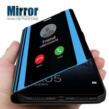 Mirror Flip Standing Phone Case For Huawei P30 Pro p smart 2018 Mate 20 Lite P20  Y6 Y7 Prime Y9 2018 Honor 10 9 8 Full bag case smart flip case for huawei p30 pro lite honor 9x 9xpro mirror cases for huawei y6 y7 y8 y9 honor 20i lite p smart 2019 plus case
