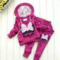 New Hot Sale Children Clothing Hoodies Cotton Sports Sets Cartoon Girls Kids Bow Suits