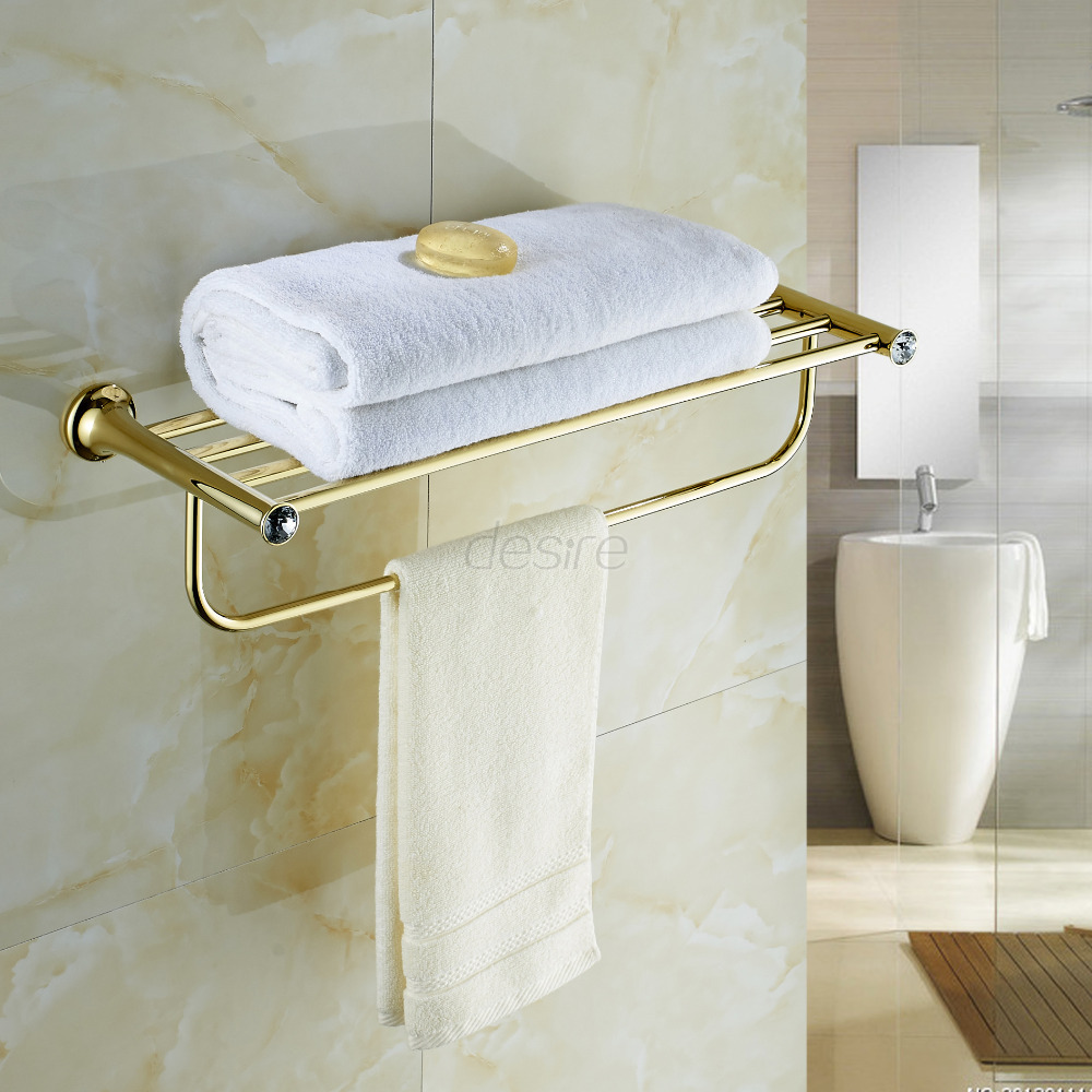 Kit Banheiro Gold plating Brass and Crystal Bathroom Accessories Set ...