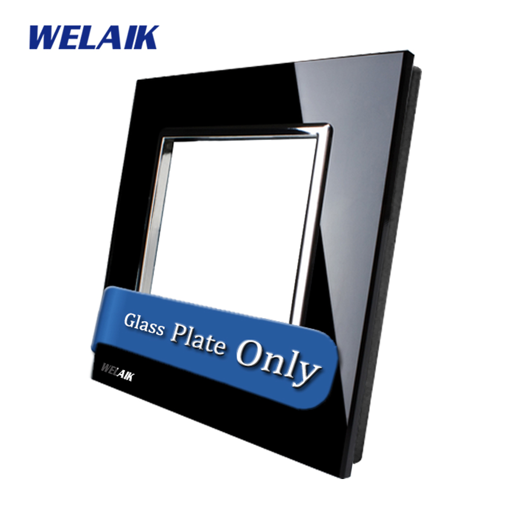 WELAIK  Touch Switch DIY Parts  Glass Panel Only of Wall Light Switch Black  Crystal Glass Panel Square hole  A18B1 eu us smart home remote touch switch 1 gang 1 way itead sonoff crystal glass panel touch switch touch switch wifi led backlight