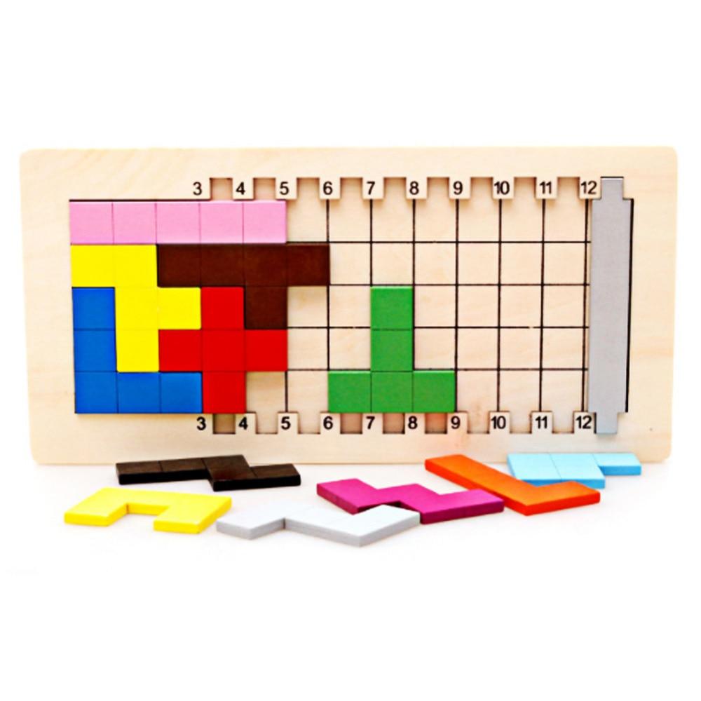 Bunte Holz Tangram 3D Puzzles Spielzeug Kinder Anzahl Gehirn Teaser Montessori Bildung Spielzeug Tetris Spiel Holz Spielzeug Jisgaw Bord