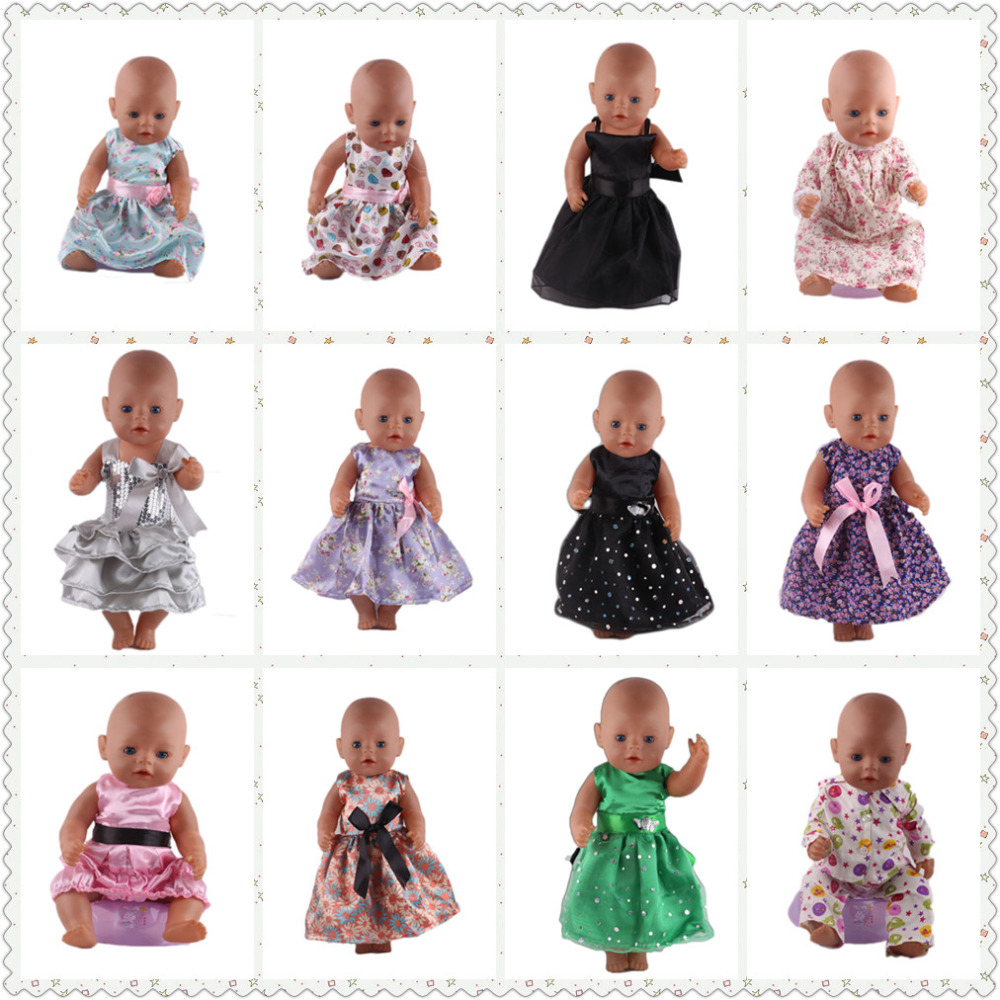 New style 15 Colors Princess Dress Doll Clothes for 43cm Baby Born Zapf Doll Clothes and Accessories best gift for children princess dress for 18 inches american girl baby born doll 2017 new fashion bjd accessories clothes toy children christmas gift