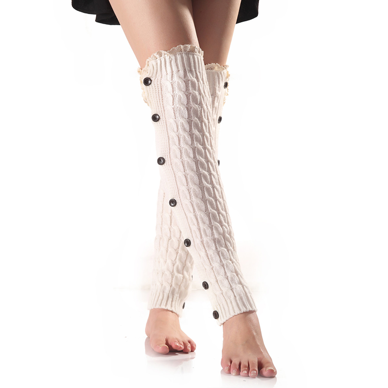 New Design High Quality Button Lace Twist Thigh Over The Knee  Long  Cotton Stockings Women Winter Warmer Soft Knit Crochet Sock