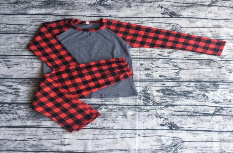 New design baby clothes clothes women ladies red plaid raglan winter Christmas family pajamas long sleeve tops & pant outfits