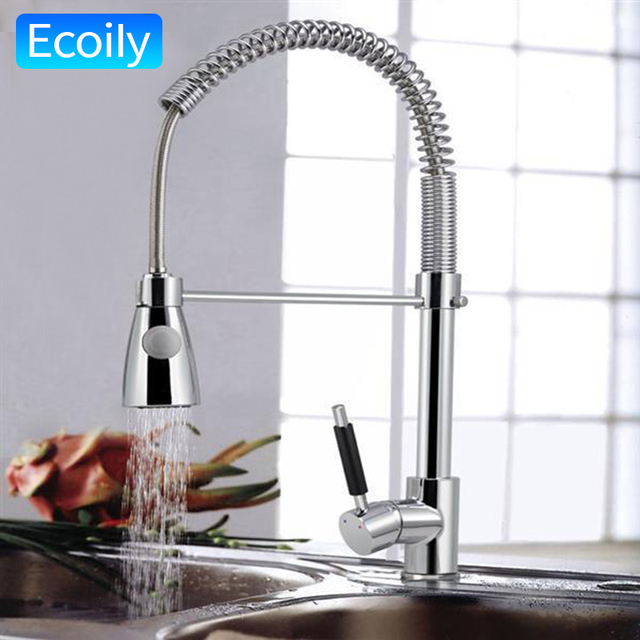 Kitchen Sink Chrome Single Handle Mixer Tap Swivel Pull Out Spray