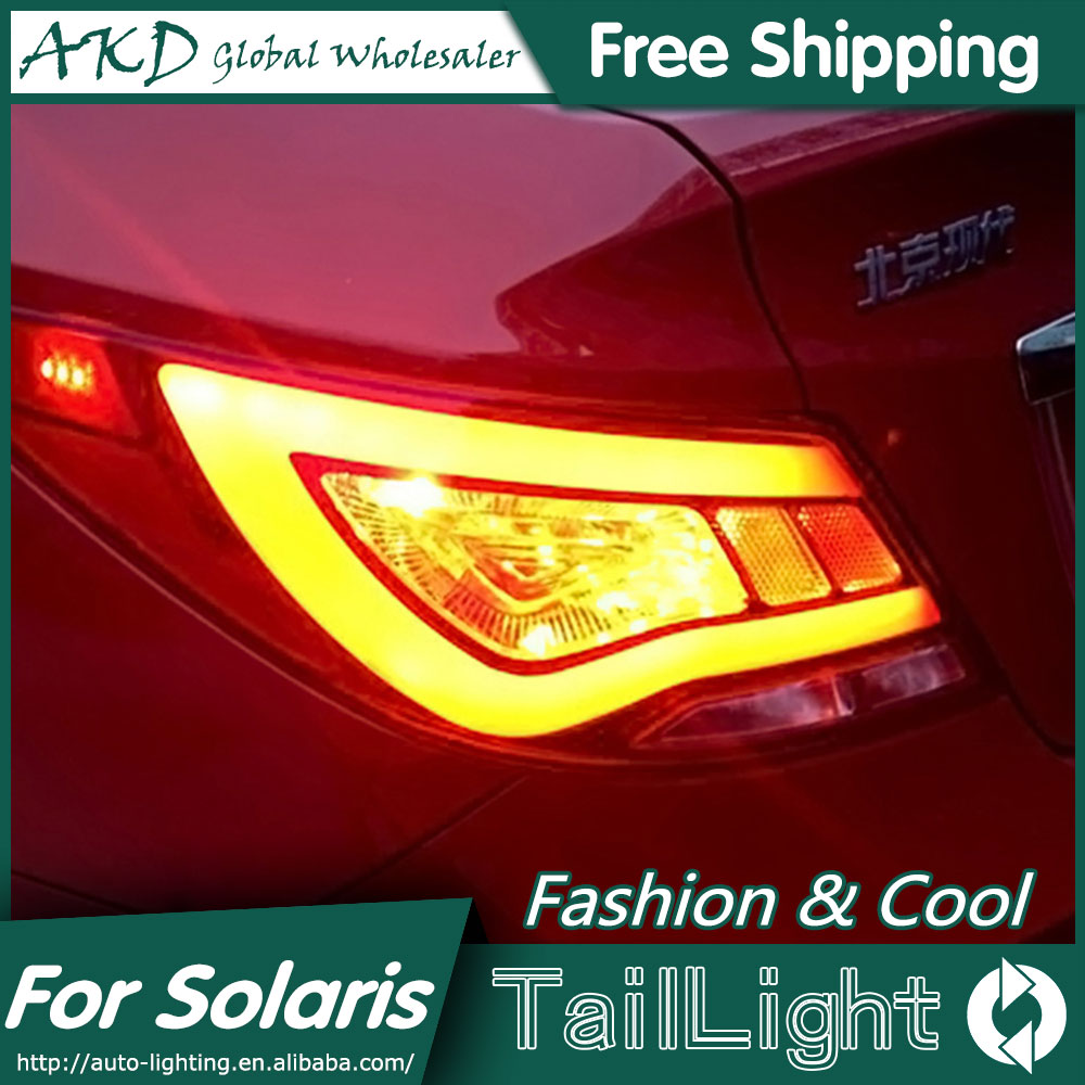 AKD Car Styling for Hyundai Accent LED Tail Lights 2011-2013 Solaris Tail Light Verna Rear Lamp DRL+Brake+Park+Signal hyundai accent hatchback ii бу москва