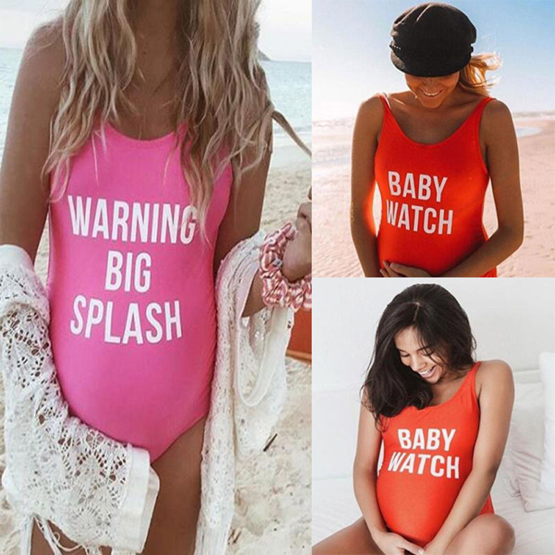 Pregnant Women Large Size Letter Printing One-piece Swimsuit