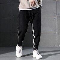 2018 Autumn Fashion Men Jeans Black Color White Stripe Spliced Jogger Pants Punk Style Elastic Waist Loose Fit Hip Hop Jeans Men