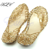 THINKTHENDO Hot Selling Ventilate Crystal Jelly Hollow Out Birds Nest Flat Sandal New Summer Beach Shoes