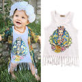 2016 new New Baby Girls Summer Sleeveless Cotton Loose White Cartoon Casual  Tassel Dress