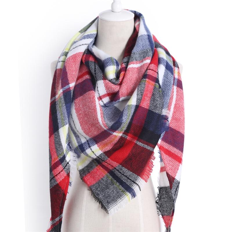 2019 Winter Warm Warp Scarf Plaid Triangle Pashmina Shawl Cashmere Foulard Femme Fashion Tassel Thick Square Scarves For Women