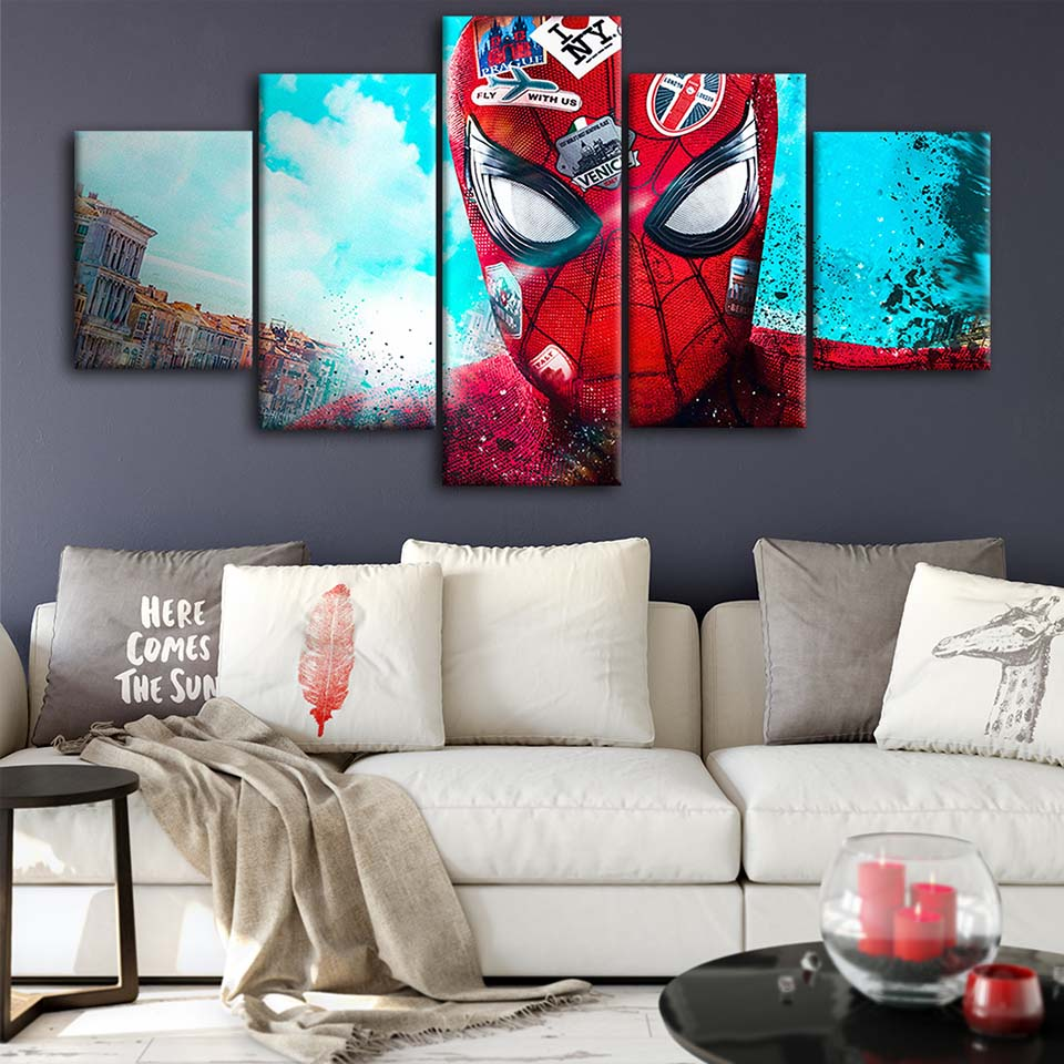Canvas-Posters-Home-Decor-Wall-Art-Framework-5-Pieces-Spider-Man-Love-NYC-Paintings-For-Living