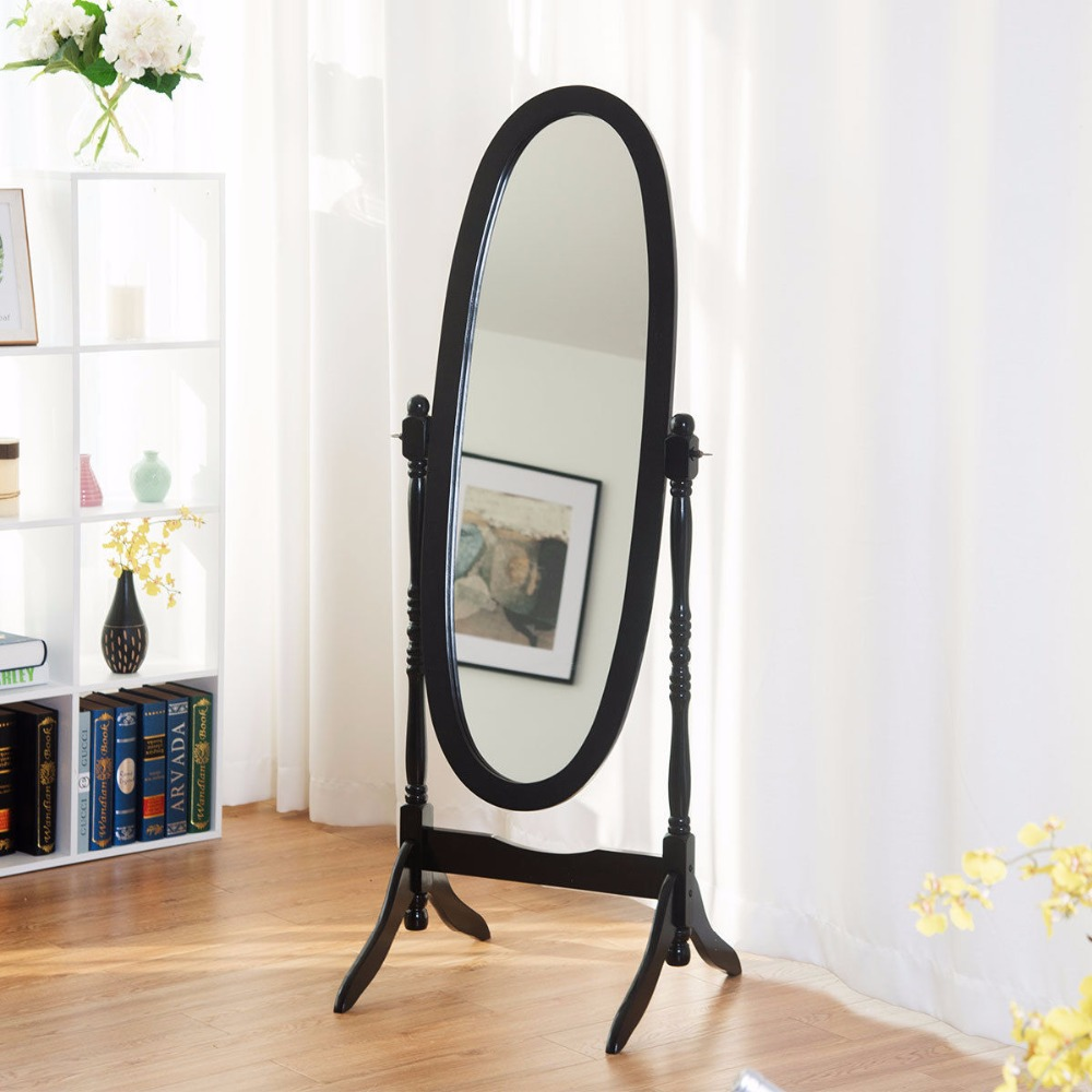 Giantex Swivel Full Length Ovel Floor Mirror Wooden Cheval Free Standing Dressing HW58834