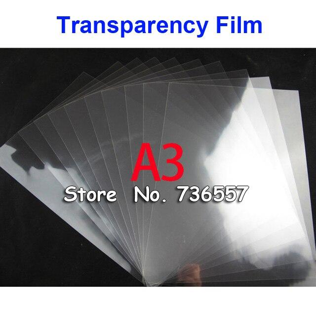 50 Pieces A3 PET Laser Printing Transparency Film Waterproof Transparency Film Screen Printing Transfer Film
