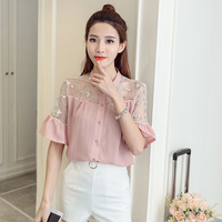 2017 New Summer Women Shirts Flare Sleeve Floral Patchwork Loose Embroidery Blouse Shirt White Pink Brick
