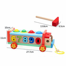 Wood Shape Pairing Digital Cognitive Knocking Car Childrens Wooden Early Learning Drawable Multifunctional Game Handcart Toys