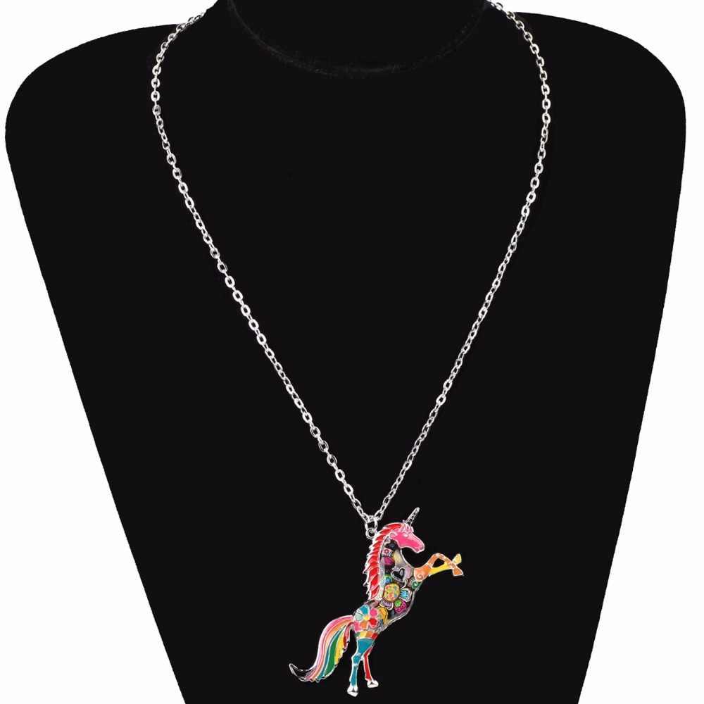 Bonsny Эмаль сплав Лошадь ожерелье с единорогами кулон цепи воротник колье Новинка животных украшения для женщин обувь девочек Подарки вечерние талисманы