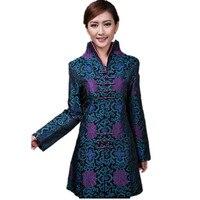 Descuento azul nuevo poliéster de seda femenina Outwear chino tradicional juego de la espiga madre de mediana edad tamaño S a XXXL