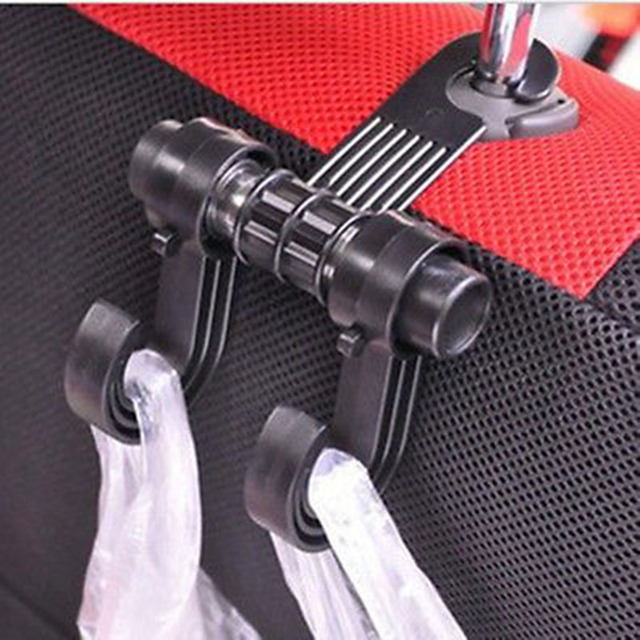 New Double Auto Car Back Seat Headrest Hanger Holder Hooks Clips For Bag Purse Cloth Grocery Automobile Interior Accessories