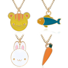 Fashion Cartoon Cute Cat Rabbit Fish Carrot Enamal Pendant Necklace Chain For Women Girls Students Jewelry Birthday Gift