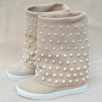 Autumn white pearls beaded mid-calf boots for women height increasing wedges bottines Slip on beige black suede boots