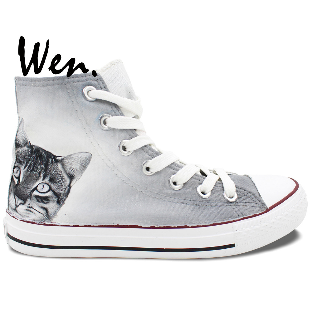 ФОТО Wen Best Popular Hand Painted Shoes Custom Design Smart Cat Men Women's Grey High Top Casual Canvas Shoes Man Woman
