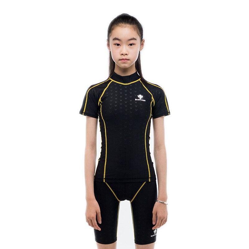 2019 nouveau maillot de bain split maillot de bain à manches courtes maillot de bain protection solaire professionnel pour les filles