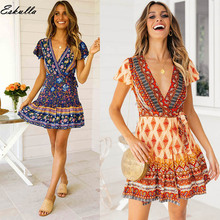 Eskulla Women Print Lace A-Line Short Sleeve Deep V-Neck Princess Dress Casual Comfortable Vrouwen Womens clothing