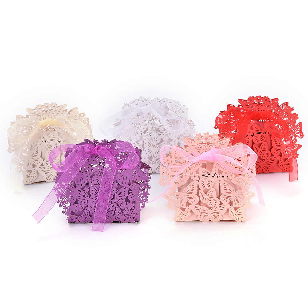 20Pcs Romantic Wedding Party Decor Butterfly Candy Cookie Gift Boxes Bags Wedding Birthday Candy Box With Ribbon 5Colors On Sale ...