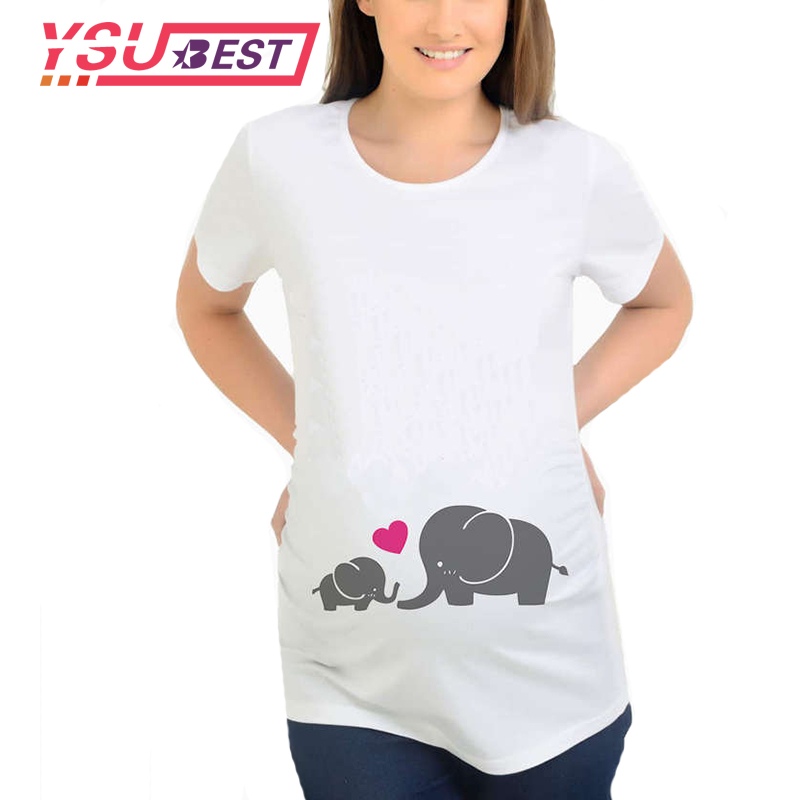 2020 New Maternal love Mother and Baby Elephant Print Maternity Tops T-shirt Clothes Pregnant T-shirts Womens Pregnancy Clothes